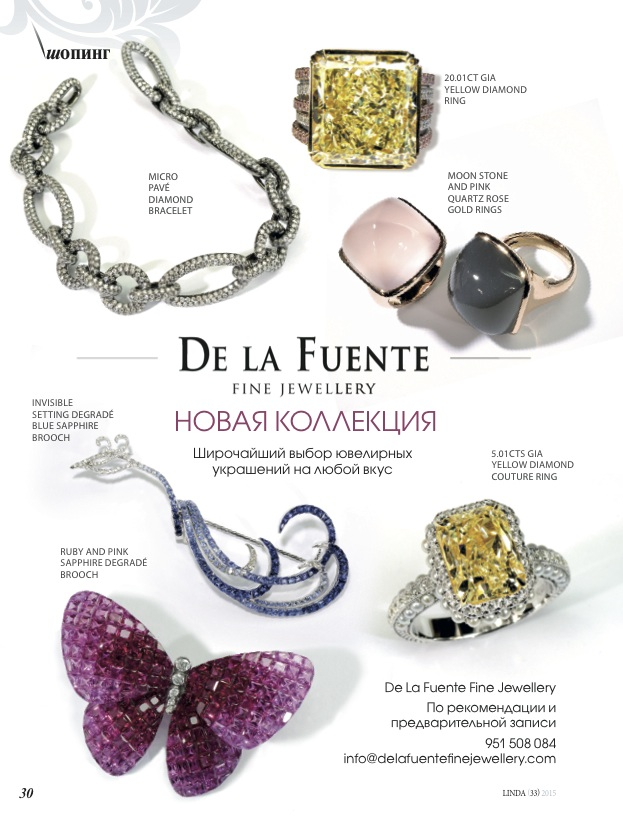 Delafuente Fine Jewellery at Linda magazine - July 2015